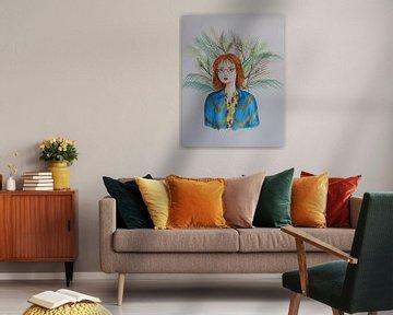 Porträt einer rothaarigen Frau mit Blättern von Iris Kelly Kuntkes