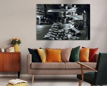 Straße in Chinatown, Bangkok in Schwarz-Weiß von Bart van Lier