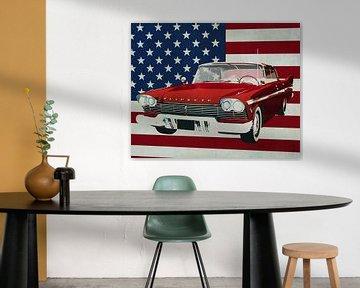 Plymouth Belvedere Sport Sedan 1957 met vlag van de V.S.
