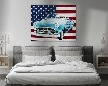 Pontiac Chieftain Convertible 1950 met vlag van de V.S.