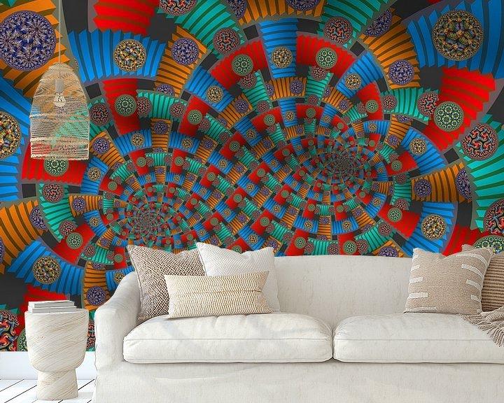Sfeerimpressie behang: Dubbele Spiraal van Trappen en Cirkels van Tis Veugen