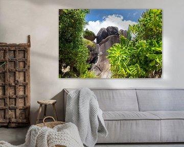 Paysage sur l'île des Seychelles La Digue sur Reiner Conrad