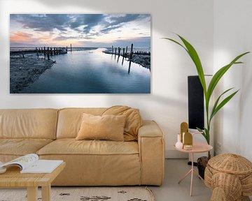 Coucher de soleil sur le petit port de Sil (Texel)