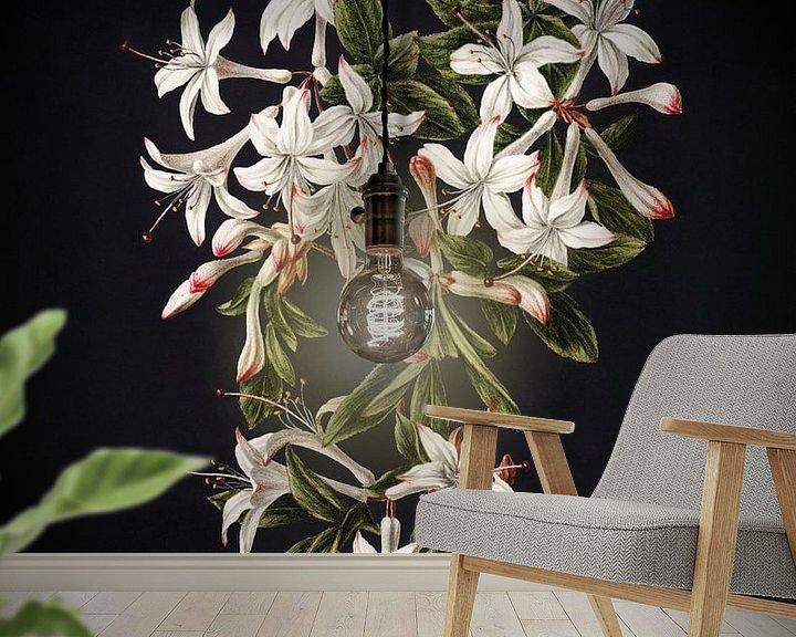 Sfeerimpressie behang: Illuminated Art - The Flowering Azalea van Marja van den Hurk