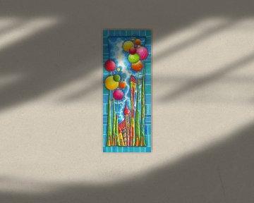 Bubblegum - Blauw - Kunst voor Kinderen van Atelier BuntePunkt