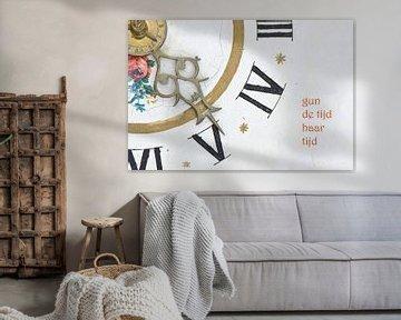 Wijzers van Friese klok met tekst von Bargo Kunst