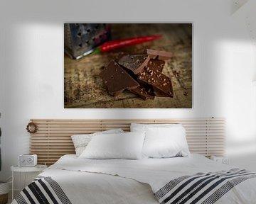 Chocola, peper, zout & rasp op hout van Miranda van Hulst