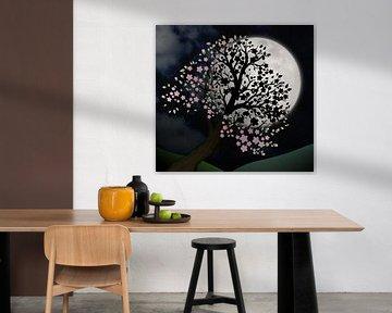 Blütenbaum in der Nacht von Bianca Wisseloo