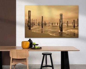 Palendorp Petten 1. kunstwerk bestaande uit 160 palen. van Marcel Kieffer