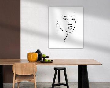 Portret tekening van Anne Schutte