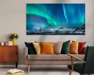 Aurore boréale, lumière polaire ou Aurora Borealis dans le ciel nocturne au-dessus des îles Lofoten  sur Sjoerd van der Wal