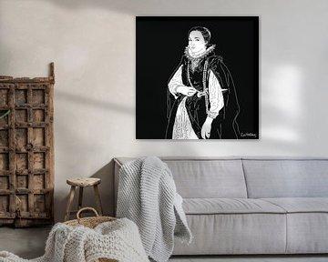 Porträt einer unbekannten Edelfrau in schwarzem Mantel und Korallenperlen. von Zoë Hoetmer