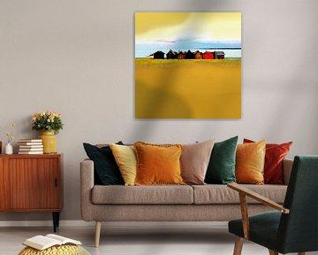 Vissershutten in een kleurrijke rij van Dirk H. Wendt