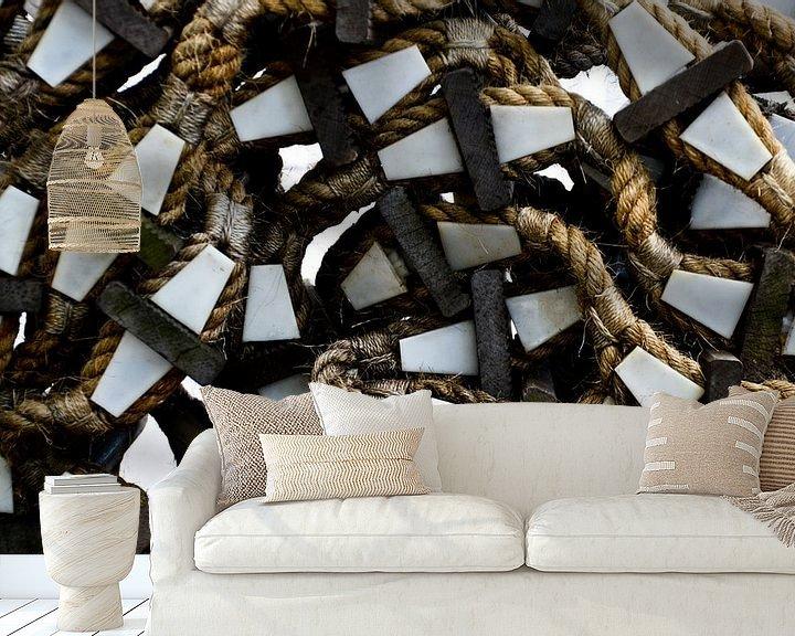 Sfeerimpressie behang: Touwladder op ss Rotterdam van Marieke van der Hoek-Vijfvinkel
