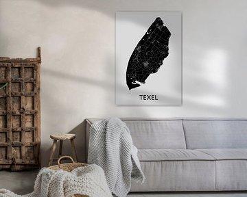 Carte de Texel | Gris sur Wereldkaarten.Shop