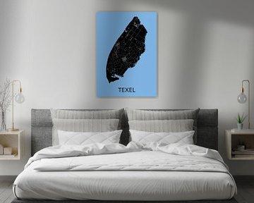 Texel Landkaart | Lichtblauw van Wereldkaarten.Shop