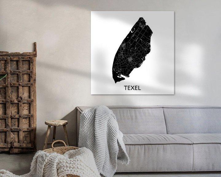 Sfeerimpressie: Texel Landkaart | Zwartwit | Wandcirkel van Wereldkaarten.Shop