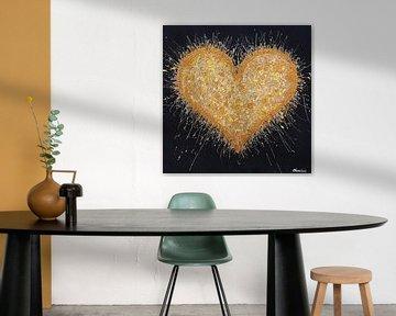 Goldenes Herz von Vrolijk Schilderij