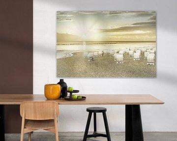 Oostzee zonsopgang op het strand | Vintage van Melanie Viola