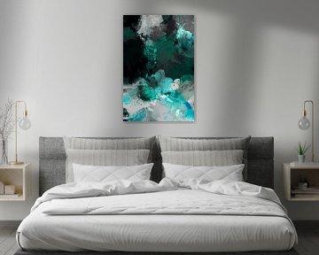 Modernes, abstraktes digitales Aquarellkunstwerk in Schwarz Blau Grau Weiß von Art By Dominic
