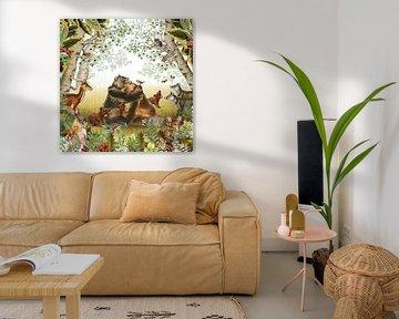 Bos in retro sfeer met hert, beren familie en vosjes van Studio POPPY