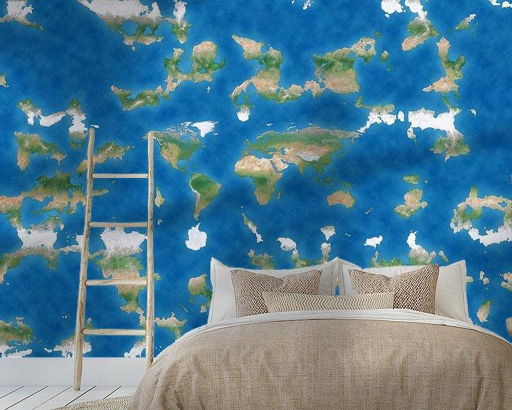 Sfeerimpressie behang: De Platte Aarde van Frans Blok