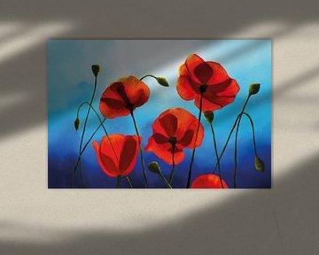 Schilderij van Rode Klaprozen voor een Blauwe Hemel van Tanja Udelhofen