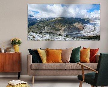 Aletsch gletsjer in Zwitserland in de bergen van Lidewij Olive
