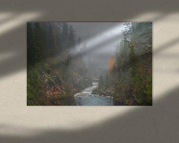 Rivier door mistige Kemijoki vallei. van Axel Weidner