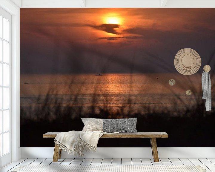 Beispiel fototapete: Beobachten, wie die Sonne im Meer versinkt. von Jurjen Jan Snikkenburg