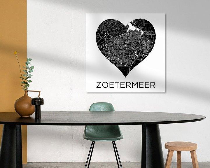 Beispiel: Liebe für Zoetermeer Schwarz-Weiß   Stadtplan im Herzen von Wereldkaarten.Shop