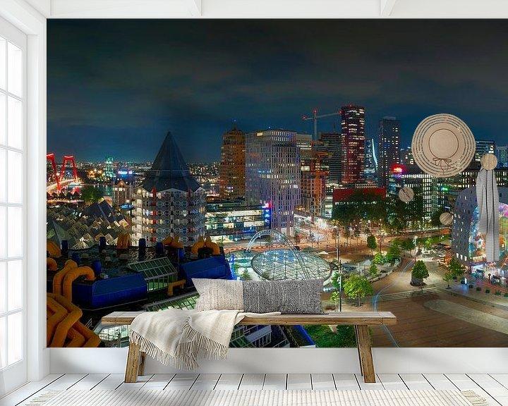 Sfeerimpressie behang: Rotterdam Skyline van Thom Brouwer