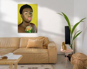 Kongolesische Frau mit Blume von Iris Kelly Kuntkes