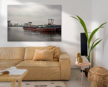 Binnenvaartschepen in de haven. van scheepskijkerhavenfotografie