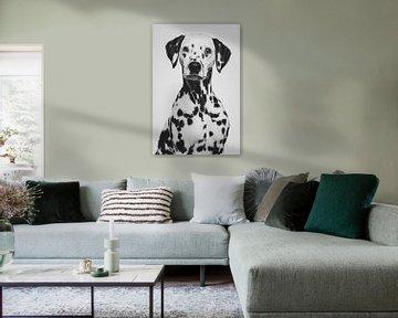 Kunstporträt eines Dalmatinerhundes in Schwarz-Weiß von Lotte van Alderen