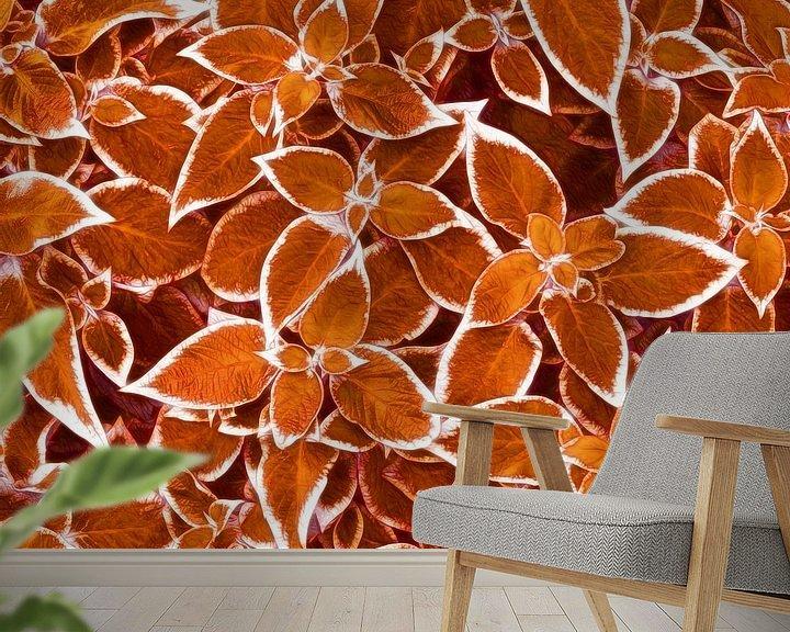 Sfeerimpressie behang: Golden Leaves (Gouden Bladeren) van Caroline Lichthart
