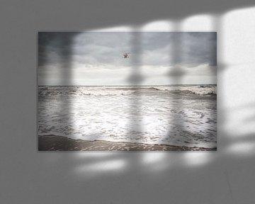 Een meeuw boven de woeste zee van Petra Brouwer