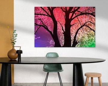 Baum in rot, violett und grün von Adriana Zoon