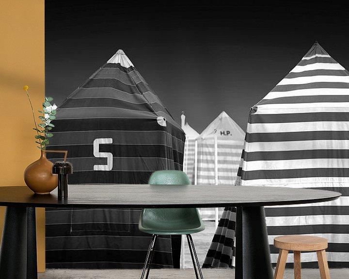 Beispiel fototapete: Strand-Zelte (schwarz-weiß) von Rob Blok