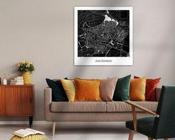 Stadtplan Zoetermeer Schwarz-Weiß | Quadrat von Wereldkaarten.Shop