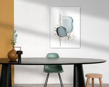 Formes abstraites à l'aquarelle dans les couleurs bleu et or sur Diana van Tankeren
