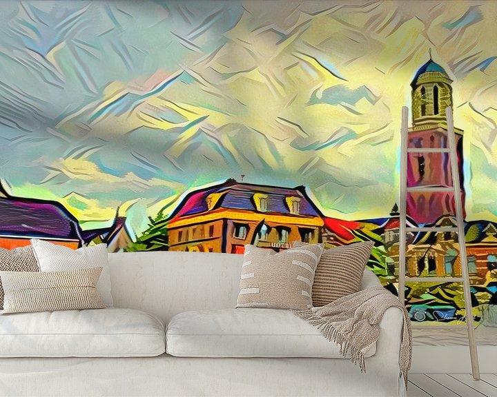 Sfeerimpressie behang: Kleurrijk Schilderij Zwolle: Rodetorenplein met Peperbus in stijl Picasso van Slimme Kunst.nl