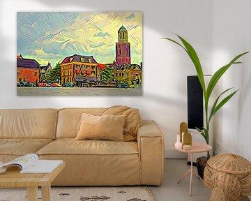 Gemälde Zwolle Rodetorenplein mit Peperbus im Picasso-Stil von Slimme Kunst.nl