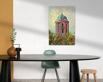 Schilderij Zwolle Peperbus in stijl Picasso