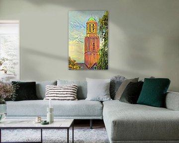 Schilderij Zwolle Uitzicht op Peperbus in stijl Picasso
