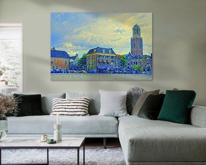 Sfeerimpressie: Schilderij Zwolle Rodetorenplein met Peperbus in stijl Van Gogh van Slimme Kunst.nl