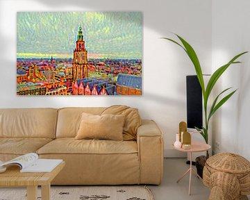 Kleurrijk Schilderij Groningen Skyline met Martinitoren vanaf Forum Groningen