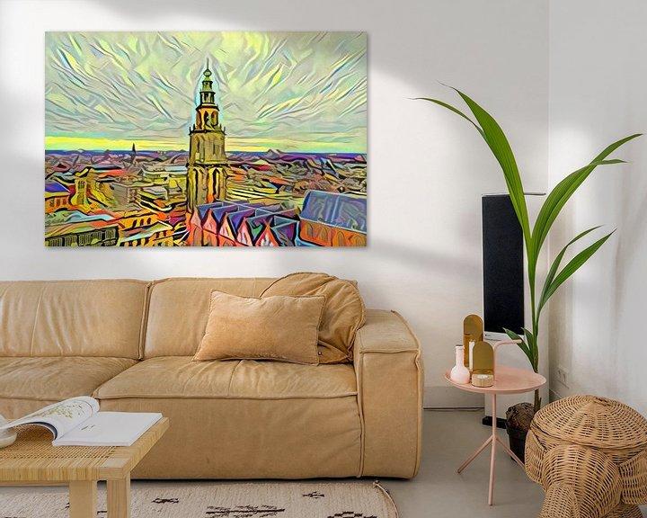 Beispiel: Gemälde Groningen im Stil der Picasso-Skyline mit Martini-Turm vom Forum Groningen von Slimme Kunst.nl