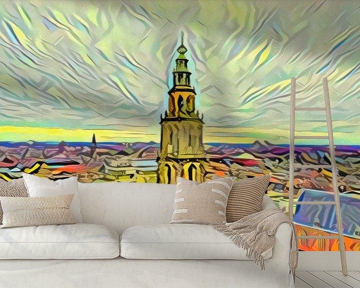 Beispiel fototapete: Gemälde Groningen im Stil der Picasso-Skyline mit Martini-Turm vom Forum Groningen von Slimme Kunst.nl