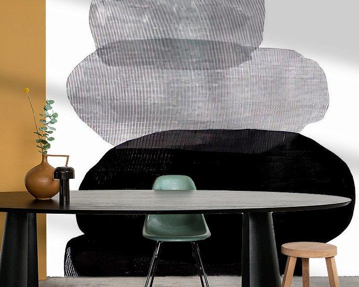 Sfeerimpressie behang: Abstract Black and White Pebbles van David Potter